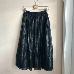 Alice and Olivia Pleated Metallic Midi Skirt